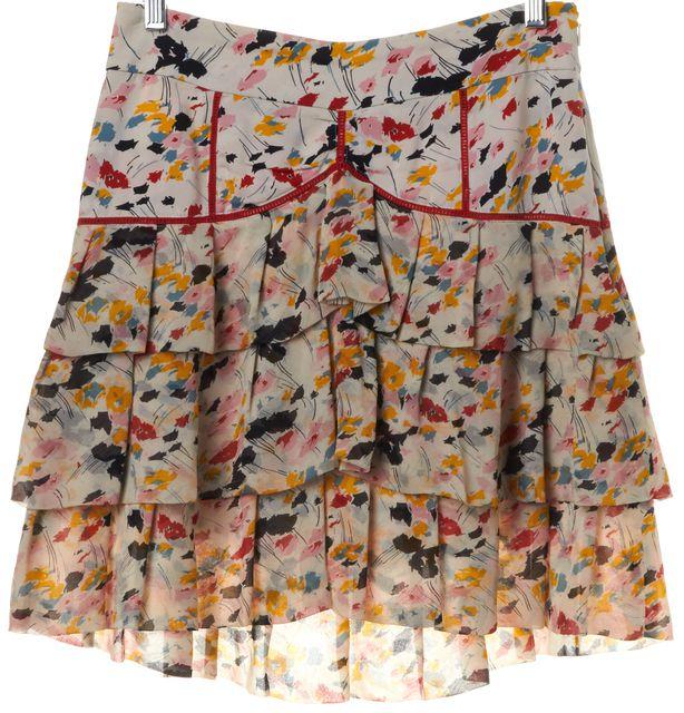 DIANE VON FURSTENBERG Ivory Multi Abstract Silk Cortisan Tiered Skirt