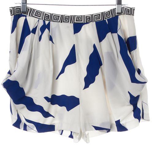 DIANE VON FURSTENBERG Blue White Silk Dress Shorts