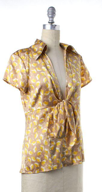 DIANE VON FURSTENBERG Yellow Beige Print Silk Wrap Blouse