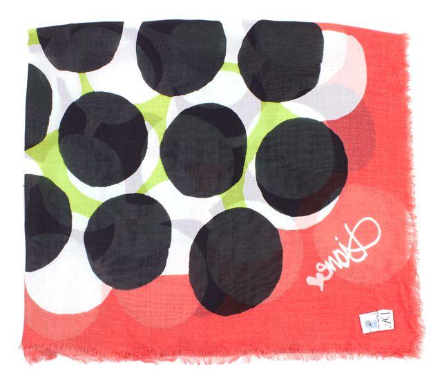 DIANE VON FURSTENBERG Multi-Color Polka Dot Cambell Frayed Hem Scarf