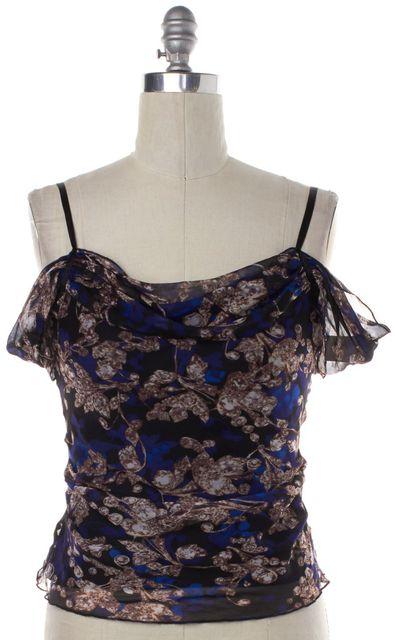 DIANE VON FURSTENBERG Blue Floral Silk Off-Shoulder Metta Blouse