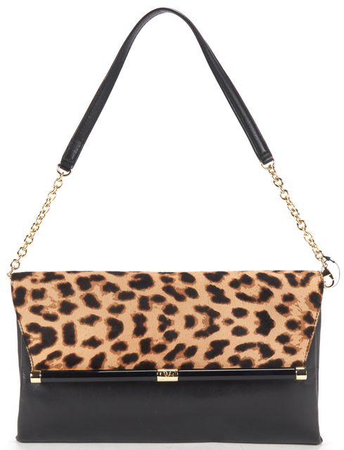 DIANE VON FURSTENBERG Black Leather Leopard Calf Hair Clutch Shoulder Bag