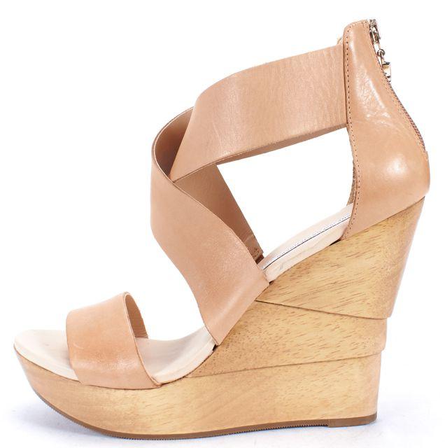 DIANE VON FURSTENBERG Beige Leather Open Toe Ankle Strap Wedge Sandals