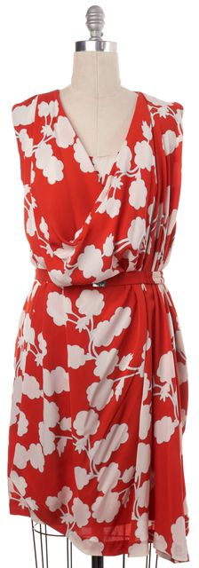 DIANE VON FURSTENBERG Orange White Floral Silk Naira Short Sheath Dress