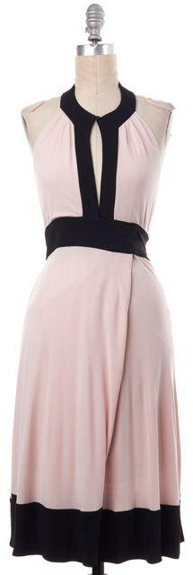 DIANE VON FURSTENBERG Pink Black Trim Sheath Dress