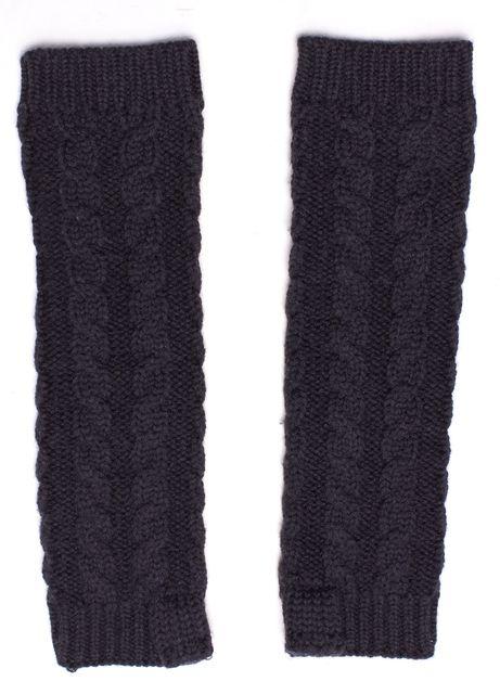 DIANE VON FURSTENBERG Navy Blue Wool Cable Knit Roxy Arm Warmers
