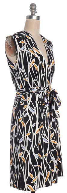 DIANE VON FURSTENBERG Black White Print Cassidy Wrap Dress