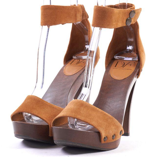 DIANE VON FURSTENBERG Brown Suede Leather Wooden Platform Ankle Strap Heels