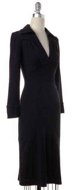 DIANE VON FURSTENBERG Black Wool Empire Waist Dress