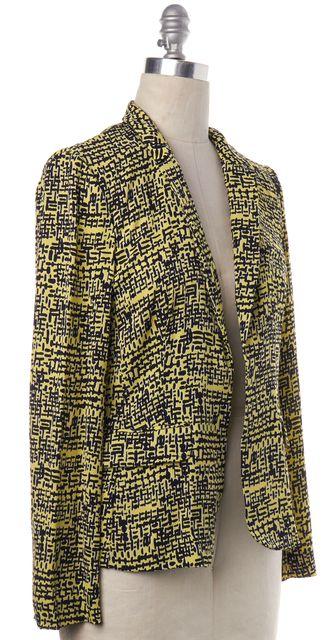 DIANE VON FURSTENBERG Yellow Black Abstract Silk Victor Print Lily Blazer