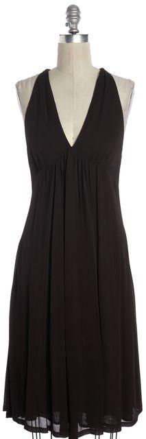 DIANE VON FURSTENBERG Chocolate Brown Sleeveless Empire Waist Dress