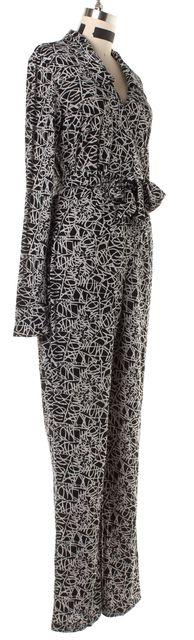 DIANE VON FURSTENBERG Black White Abstract Silk Wrap Jumpsuit