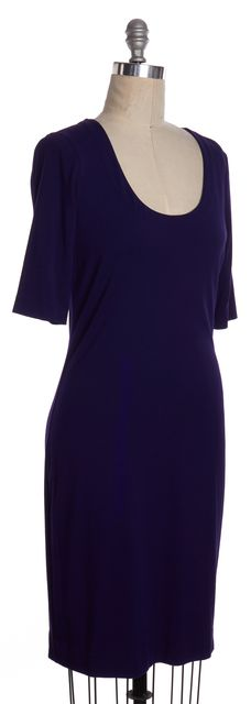 DIANE VON FURSTENBERG Purple Raquel Scoop Short Sleeve Shift Dress