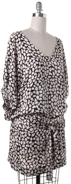 DIANE VON FURSTENBERG Pink Black Printed Stretch Silk Edna Blouson Dress