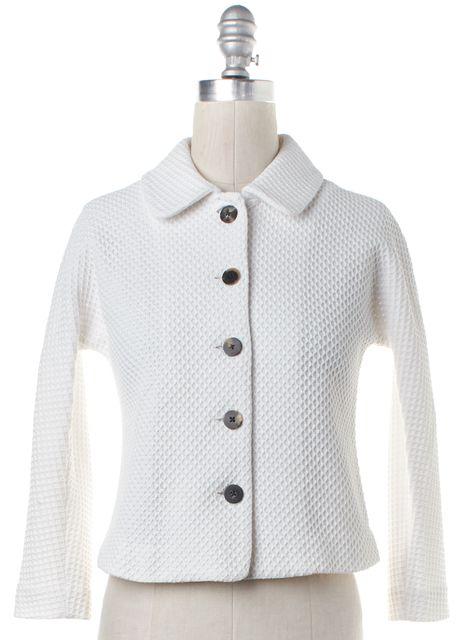 DIANE VON FURSTENBERG White Textured DVF Martia Basic Jacket