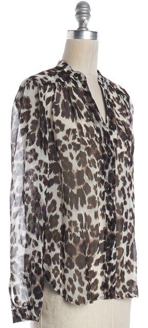 DIANE VON FURSTENBERG Brown Snow Cheetah Printed Sheer Silk Blouse Top