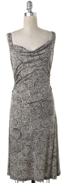 DIANE VON FURSTENBERG Black White Abstract Silk Draped Sheath Dress