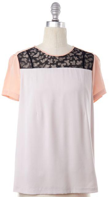 DIANE VON FURSTENBERG Ivory Pink Black Colorblock Silk Ainslee Blouse Top