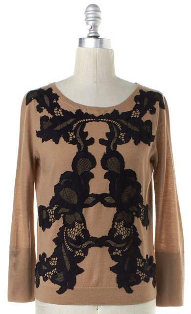 DIANE VON FURSTENBERG Camel Brown Black Lace Detail Wool Shara Sweater