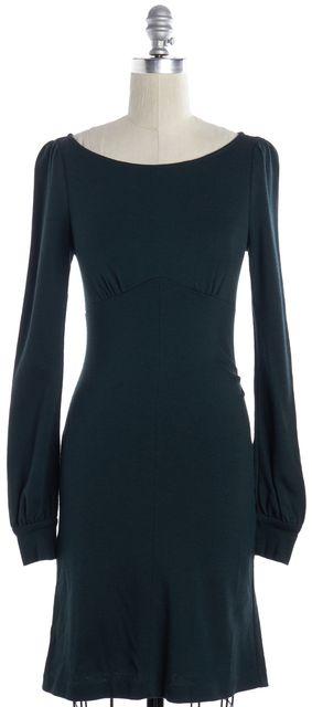 DIANE VON FURSTENBERG Dark Green Wool Sheath Dress