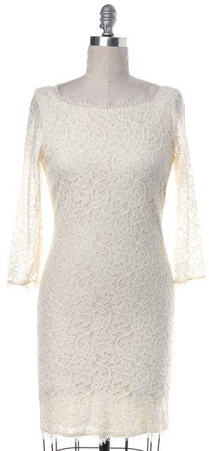 DIANE VON FURSTENBERG Ivory Lace Zarita Sheath Dress