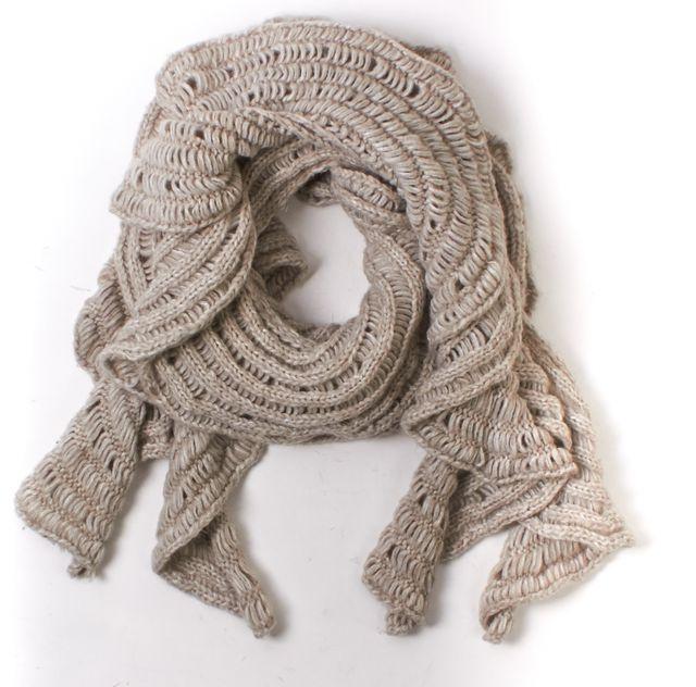 DIANE VON FURSTENBERG Beige Knit Ludgate Long Scarf