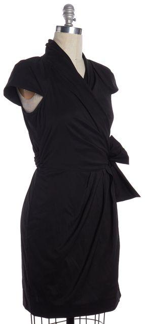 DIANE VON FURSTENBERG Black Vern Cap Sleeve Wrap Dress