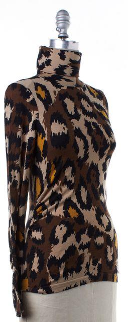 DIANE VON FURSTENBERG Brown Leopard Print Wool Turtleneck Sweater
