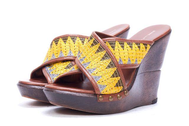 DIANE VON FURSTENBERG Brown Yellow Leather Rafia Open Toe Sandal Wedges