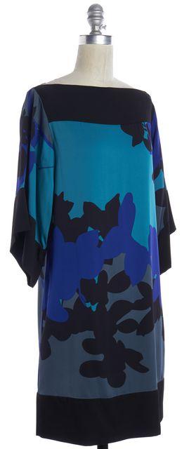 DIANE VON FURSTENBERG Black Blue Gray Floral Silk Shift Dress