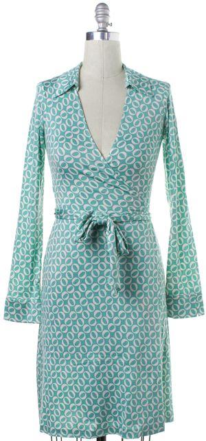 DIANE VON FURSTENBERG Mint Green White Geometric Silk Wrap Dress