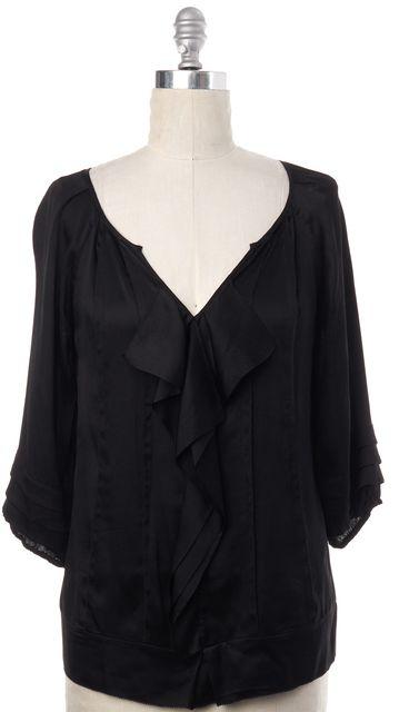 DIANE VON FURSTENBERG Black Silk Jael Blouse Top