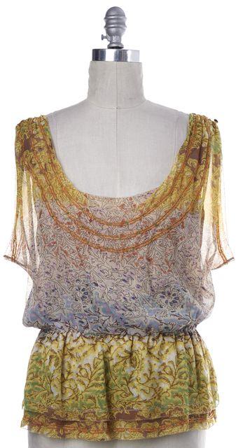 DIANE VON FURSTENBERG Yellow Floral Print Silk Ezmeralda Blouse Top