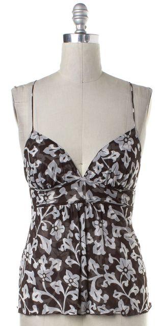 DIANE VON FURSTENBERG Brown White Floral Silk Tank Top
