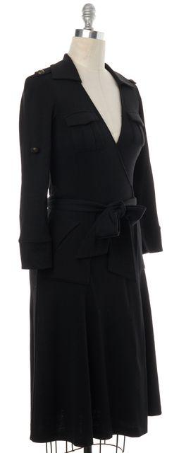 DIANE VON FURSTENBERG Black Wool Wrap Dress
