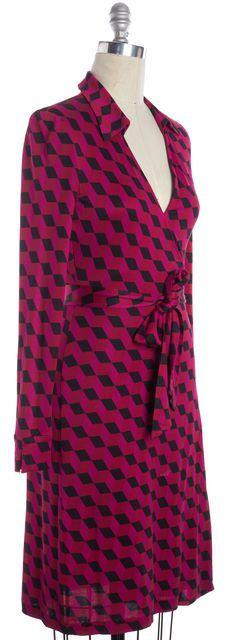 DIANE VON FURSTENBERG Pink Red Black Geometric Silk Jersey Wrap Dress
