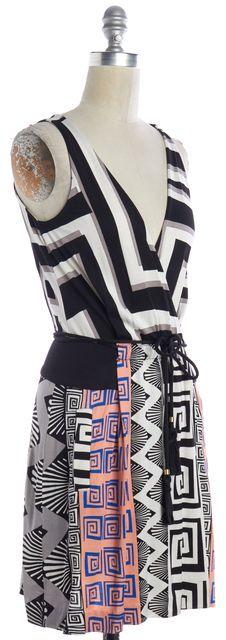 DIANE VON FURSTENBERG Multi-Color Geometric Silk Wrap Dress