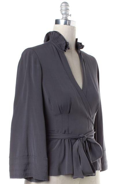 DIANE VON FURSTENBERG Gray Silk Ruffle Neckline Wrap Top