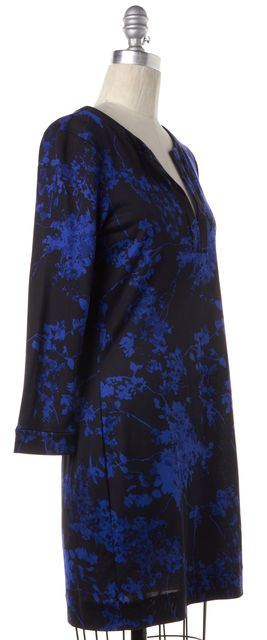 DIANE VON FURSTENBERG Blue Black Floral Silk DVF Raye Sheath Dress