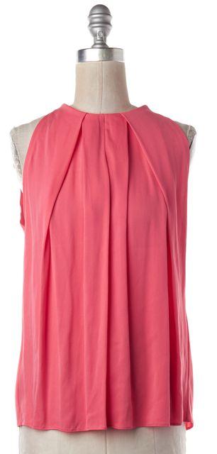 DIANE VON FURSTENBERG Pink Silk Pleated Elaine Sleeveless Blouse Top