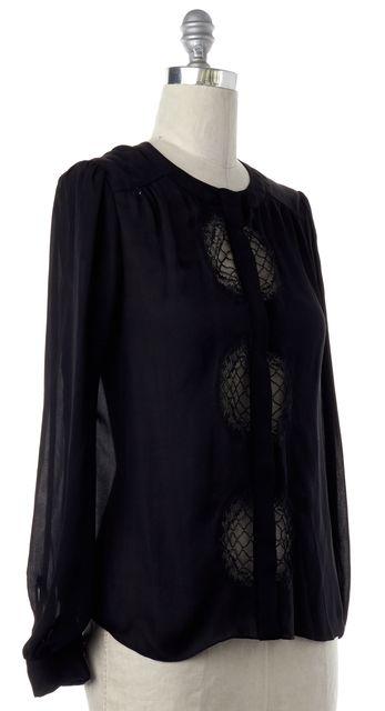 DIANE VON FURSTENBERG Black Silk Lace Trim Button Down Shirt Top