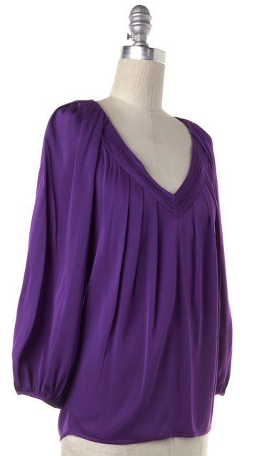 DIANE VON FURSTENBERG Purple Silk V Neck Blouse