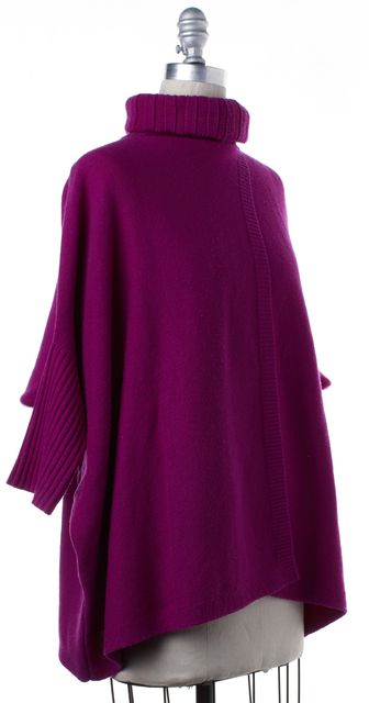 DIANE VON FURSTENBERG Purple Wool Ahiga Foldover Turtleneck Knit Sweater