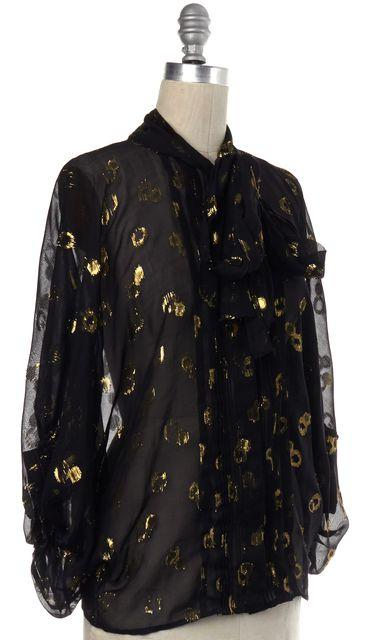 DIANE VON FURSTENBERG Black Gold Sheer Silk Joanne Gem Jacquard Blouse Top