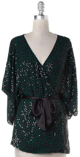 DIANE VON FURSTENBERG Black Green Sequin Silk Wrap Top