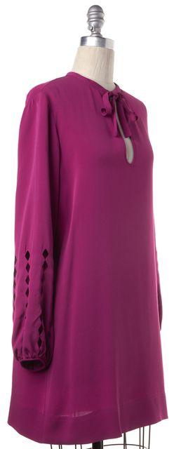 DIANE VON FURSTENBERG Pink Silk Bow Tie Sleeve Cutouts Kimberly Shift Dress
