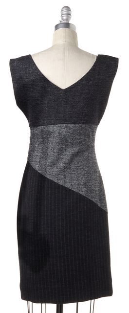DIANE VON FURSTENBERG Gray Suiting Colorblock Cotton Wool Jori Sheath Dress