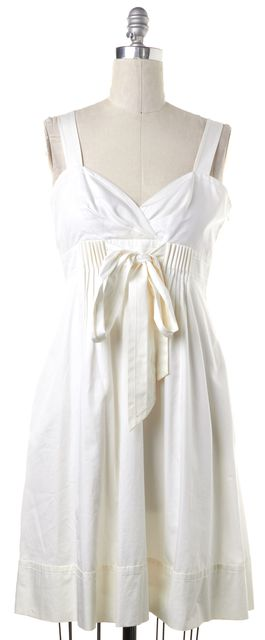 DIANE VON FURSTENBERG White Dessa Jolie Empire Waist Dress Fits Like a 8