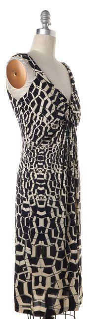 DIANE VON FURSTENBERG Black Ivory Geometric Sheath Dress