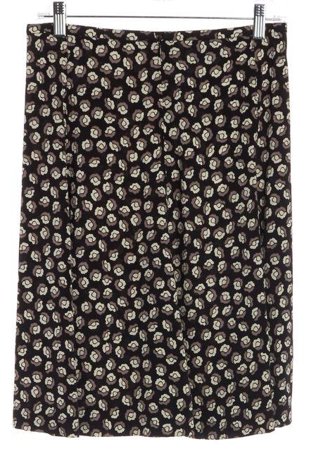DIANE VON FURSTENBERG Black Ivory Gray Floral Silk Straight Skirt